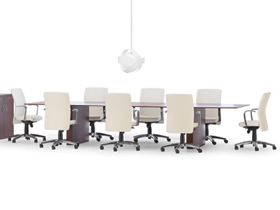 10 foot wood conference table with conference chairs, overhead lamp and cabinet in Milwaukee office