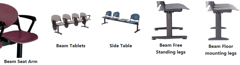 Beam seating options including arms, tablets, side tables and leg style