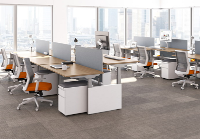 Discount office furniture including sit-stand desking and ergonomic office chairs for sale in Des Moines Iowa