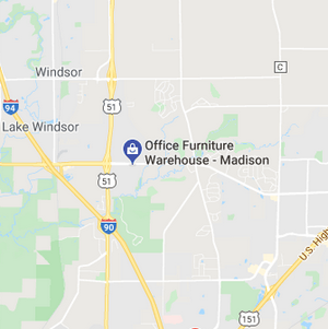Map showing location of Office Furniture Warehouse in Madison Wisconsin