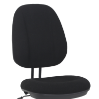 Black fabric office task chair without arms