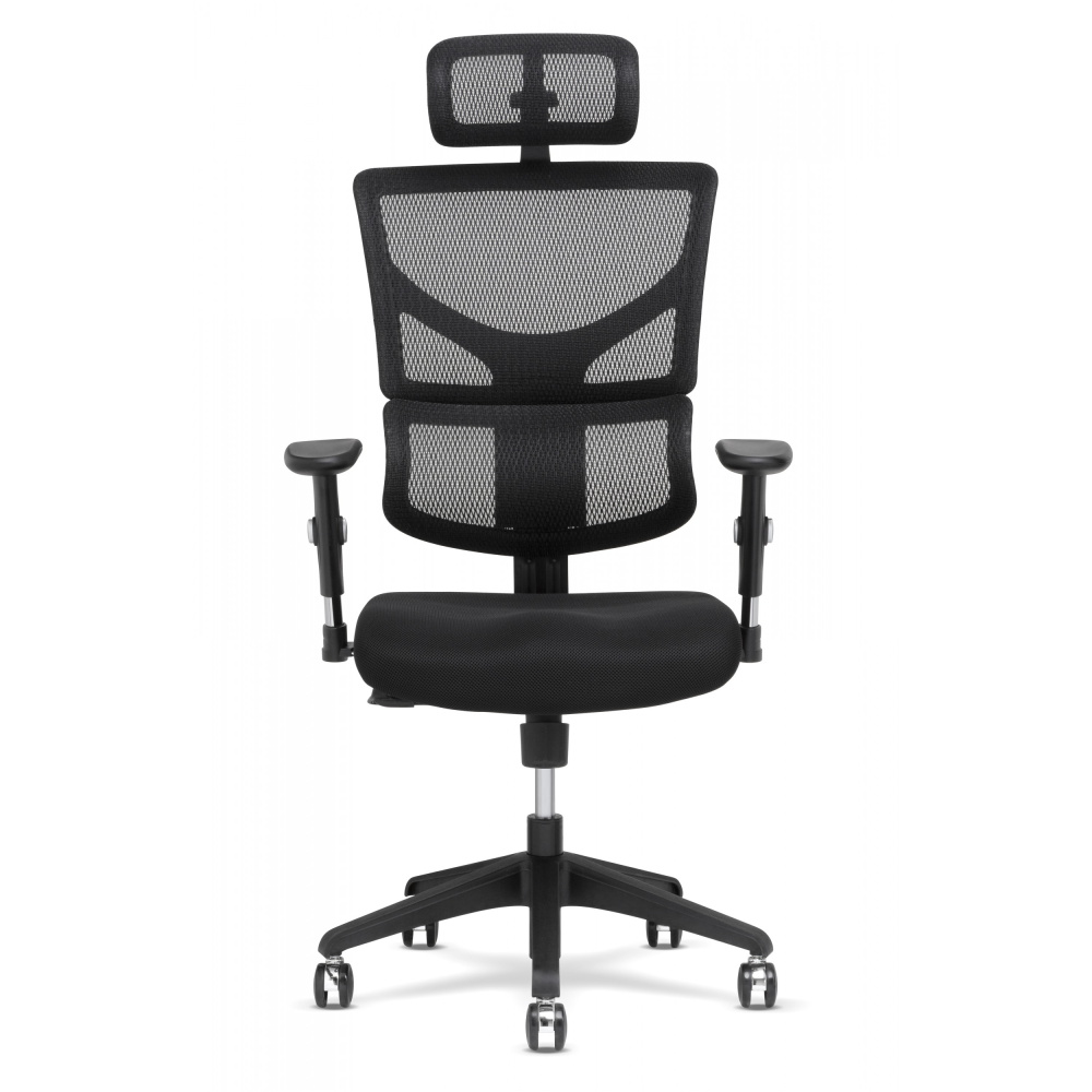 Black frame with front view of basic task chair