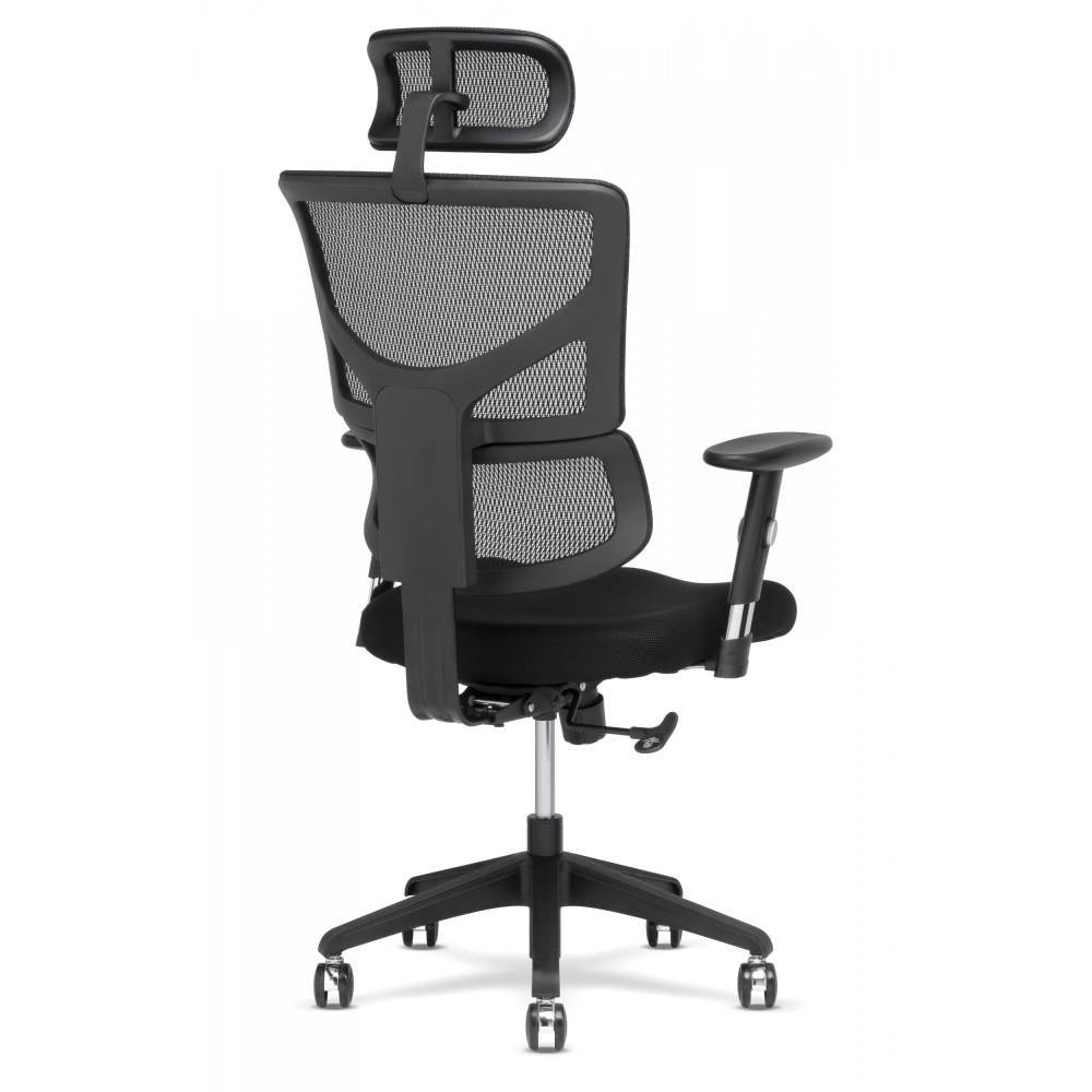 Side view of black office chair with black frame