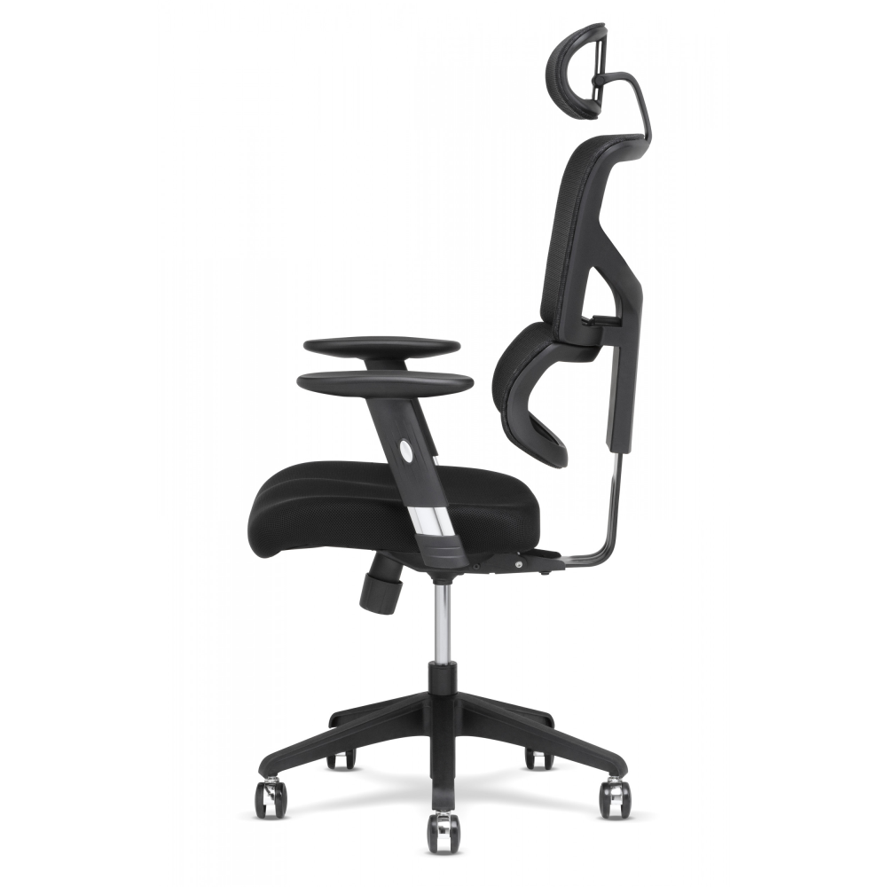 Side view of task chair pointing right showing foam seat and design