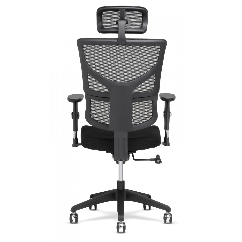 Bask Side of task chair with headrest and black base