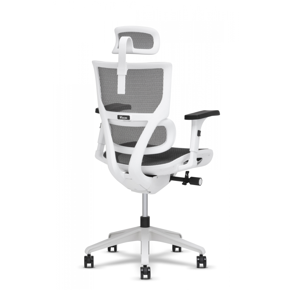 Right side of the back of the task chair showing the white frame and locking wheels