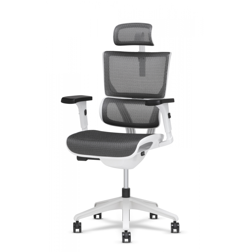 Front view of task chair with lumbar and petite headrest