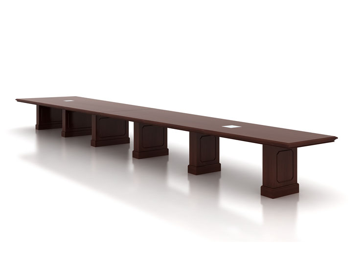 Custom 21 foot boat shaped wood conference table