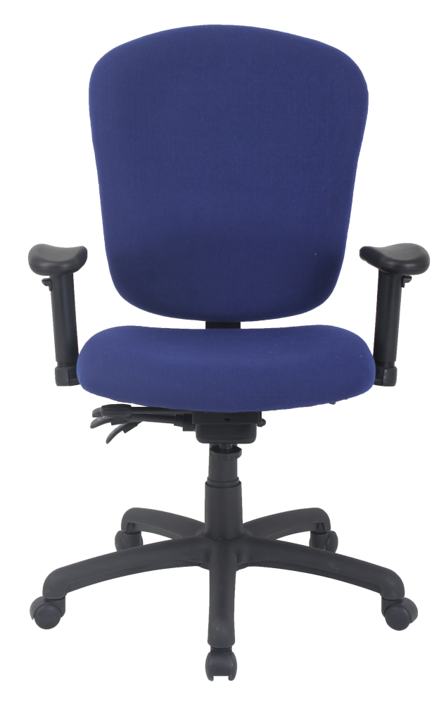 Blue office chair with arms and padded seat