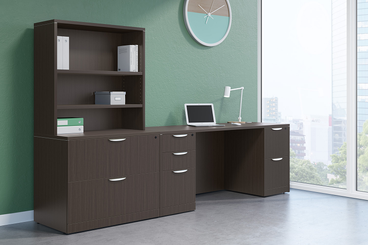 Laminate lateral file cabinets beneath laminate shelving system in modern office