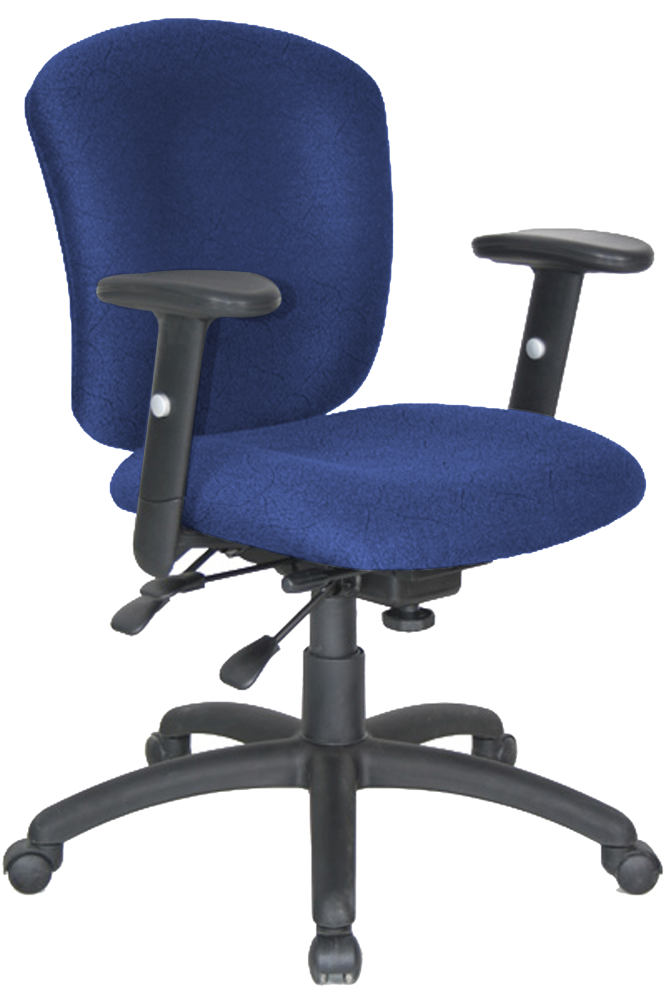 Blue Fabric Adjule Office Chair With Wheels