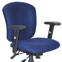 Blue fabric adjustable office chair with wheels