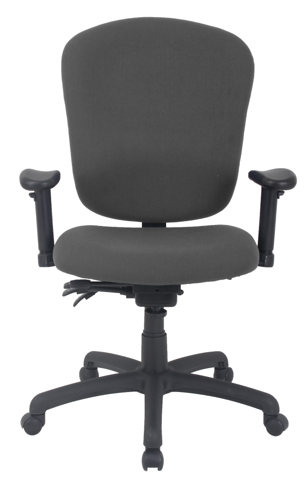 Grey office chair with padded seat and wheels