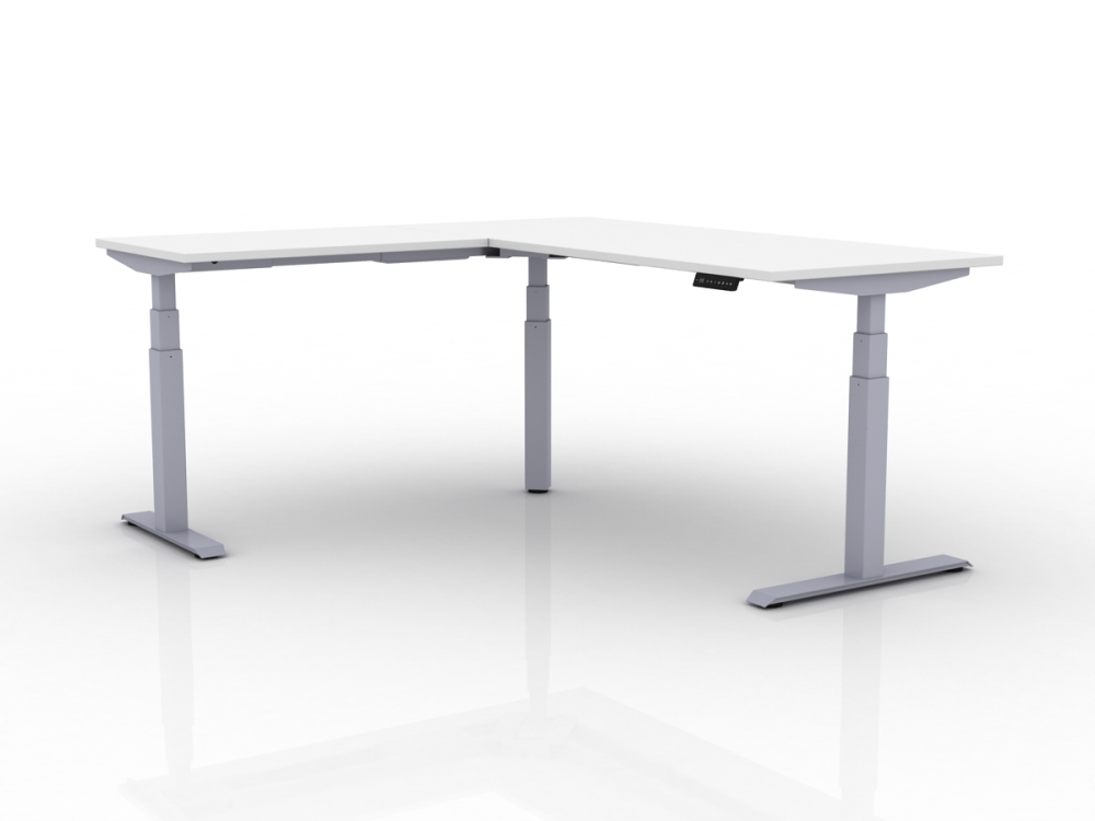 Sit stand office work table with 3 legs and 120-degree angle worksurface