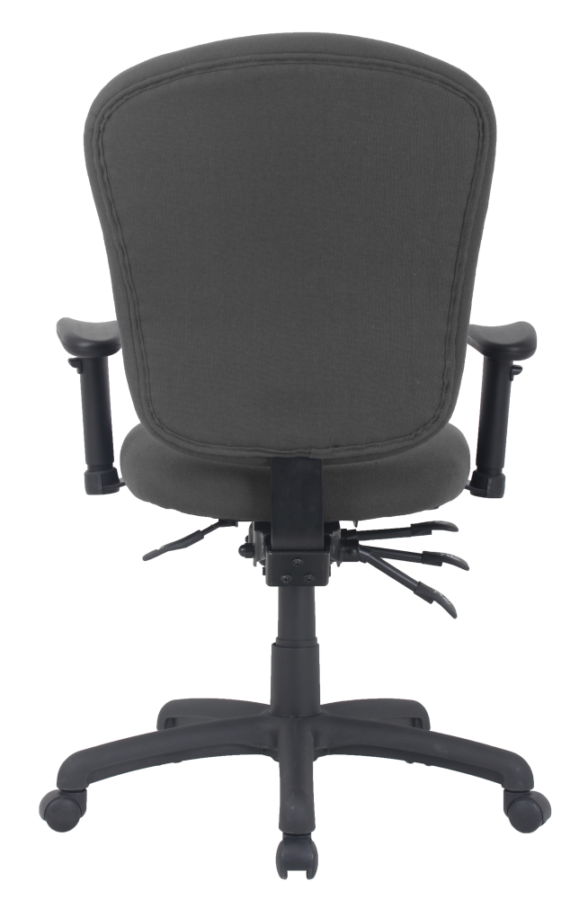 Mid back office chair with wheels and arms grey fabric