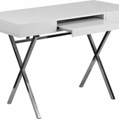 Rectangular white laminate desk with sliding keyboard tray and crisscross legs