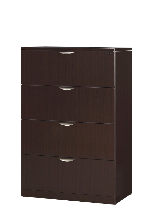4 drawer lateral file cabinet in dark wood grain finish