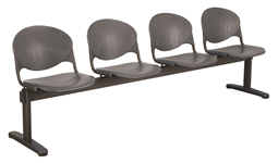 4-seat beam seating bench in brushed metal and charcoal for waiting room
