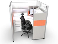 Orange Sliding Cubicle | Workstation