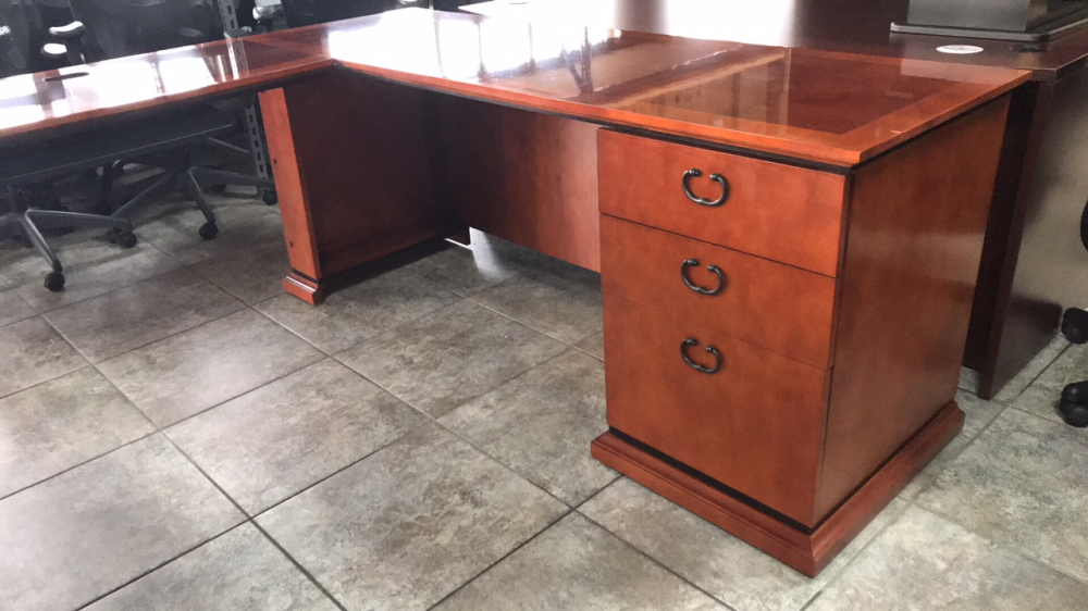 Paoli wood veneer desk for sale