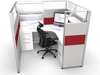 6x6 Red Sliding Cubicle | Workstation