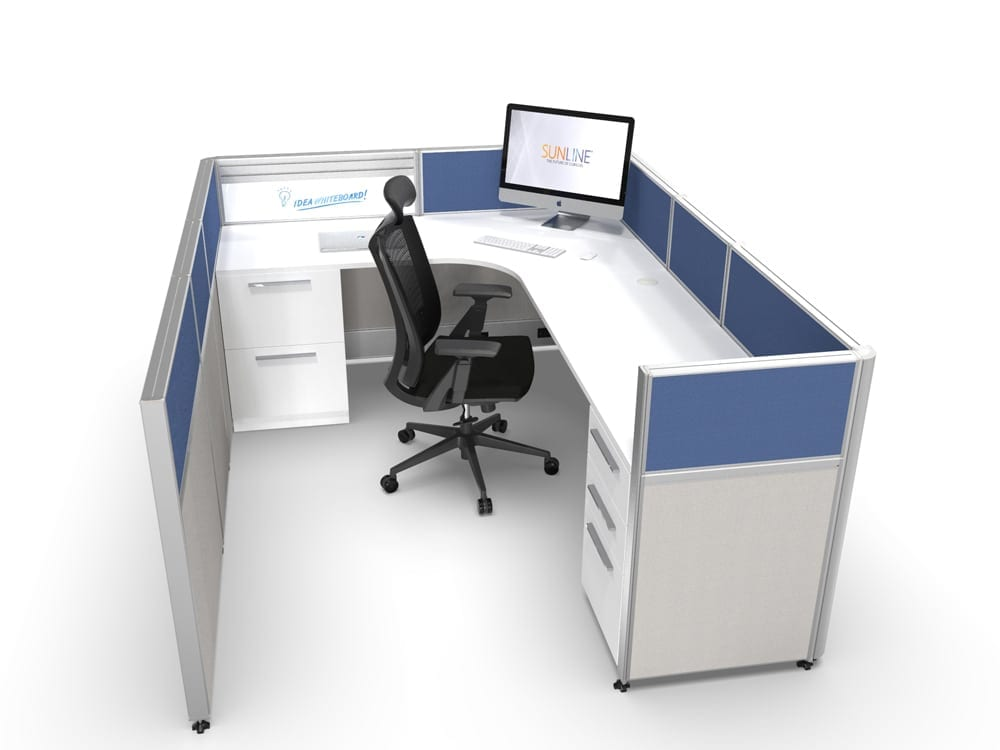6x8 Office Cubicle With Blue Accent