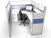 6x8 Modern Office Cubicle with Blue
