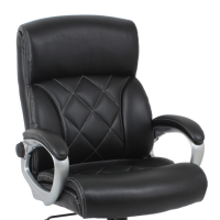 Black leather heavy duty executive office chair with padded armrests and wheels