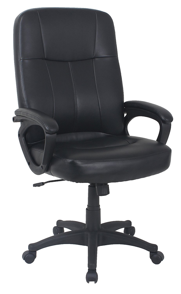 Black bonded leather executive office chair with arms and wheels for sale online