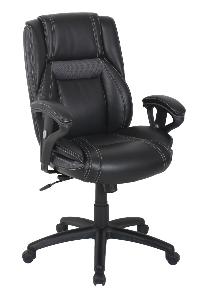 Executive black leather office chair with padded armrests on sale