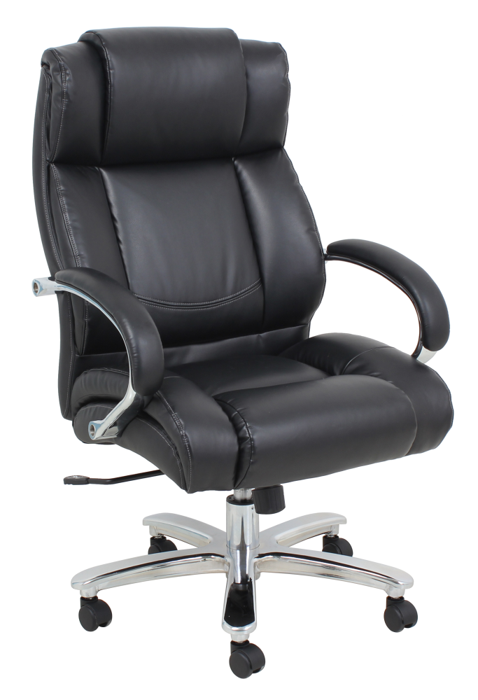 Heavy duty black leather office chair with wheels and padded armrests up to 500lbs