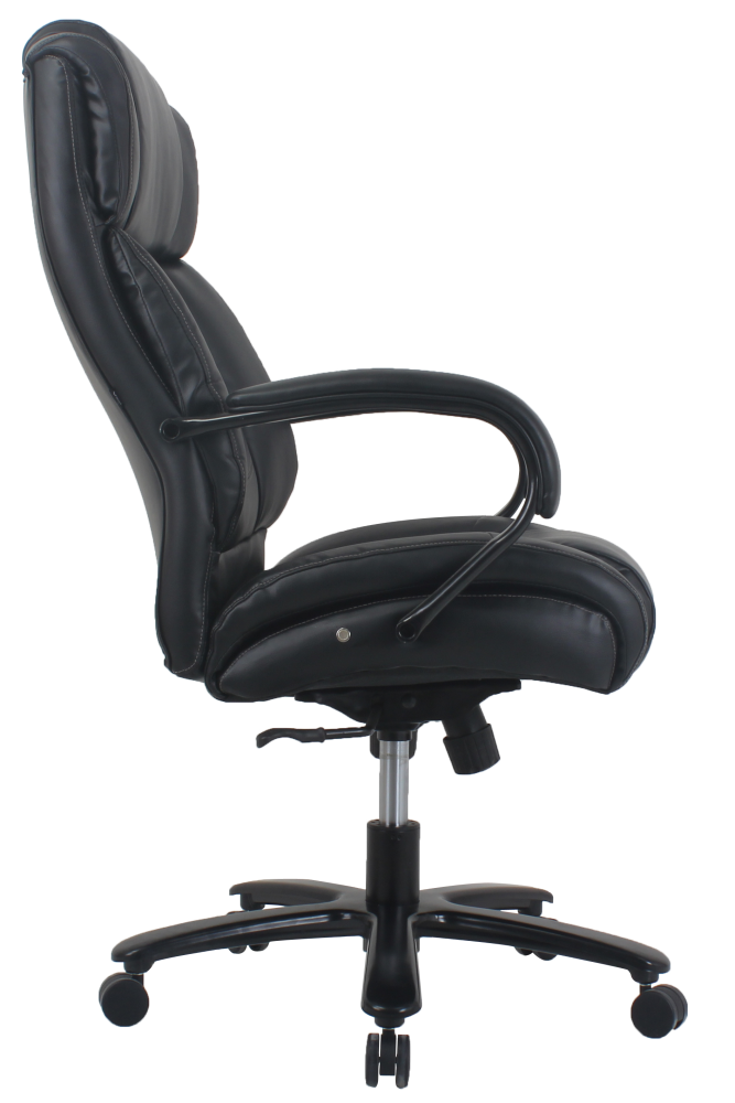 Heavy Duty Black Leather Executive Chair Up To 500 Lbs