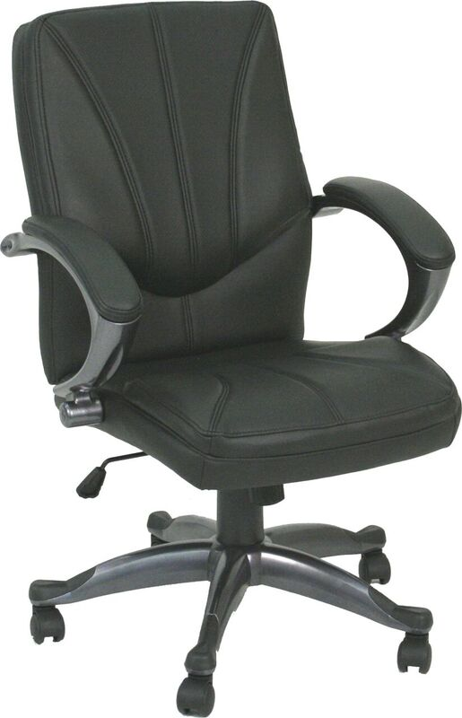 Black leather office chair for sale with wheels and padded arm rests