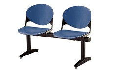 Navy blue 2-seat beam seating with no arms for a waiting room