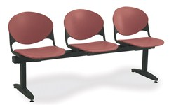 3-seat beam seating with freestanding legs and burgundy color for waiting rooms