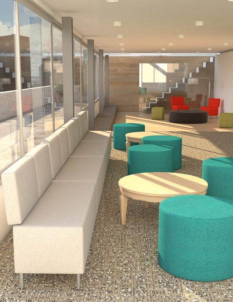 Modular waiting room lounge furniture including bench sofa and fabric covered seating