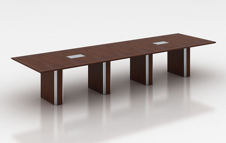 Custom 12 foot rectangular conference table in dark wood veneer with aluminum inlays
