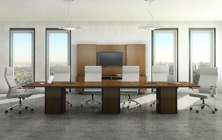 Custom 12 foot conference table with matching media cabinet