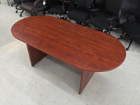 8 foot cherry wood veneer conference room table Waukesha