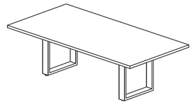 sketch of 8 foot rectangular conference table with open frame metal base