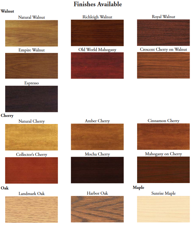 Wood finish options in walnut, oak, cherry and maple for custom conference tables