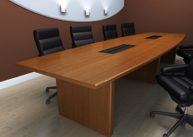 Custom contemporary wood conference table with panel base