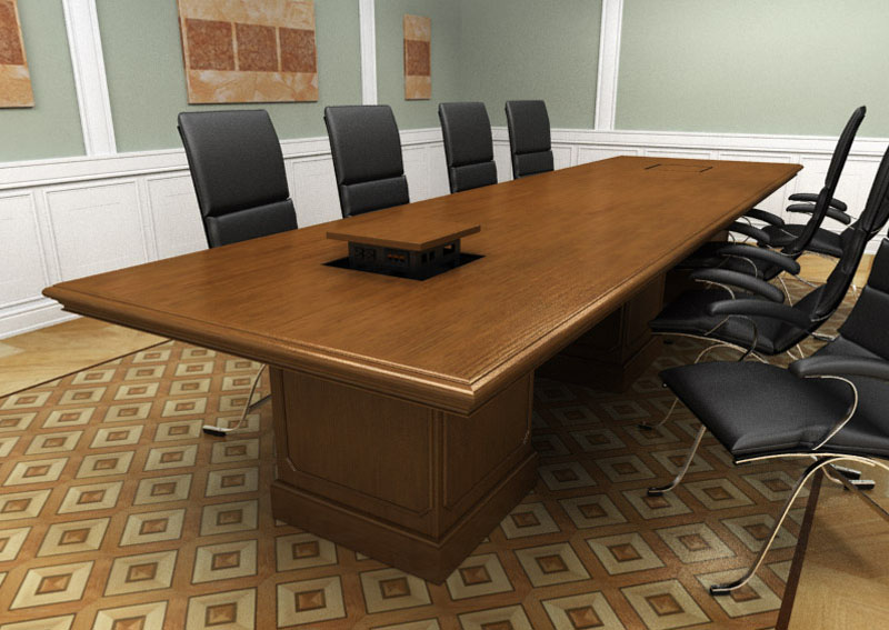 Custom traditional wood meeting room table with built in data panel