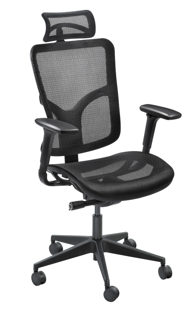 Ergonomic black mesh executive office chair with headrest, arms and wheels