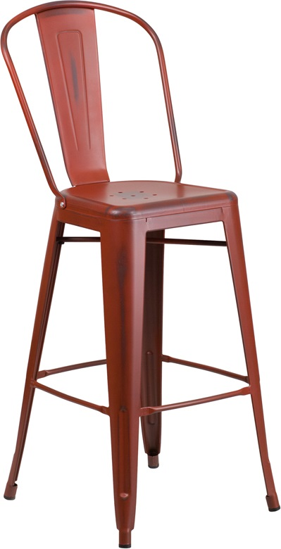 distressed red metal barstool with back for sale