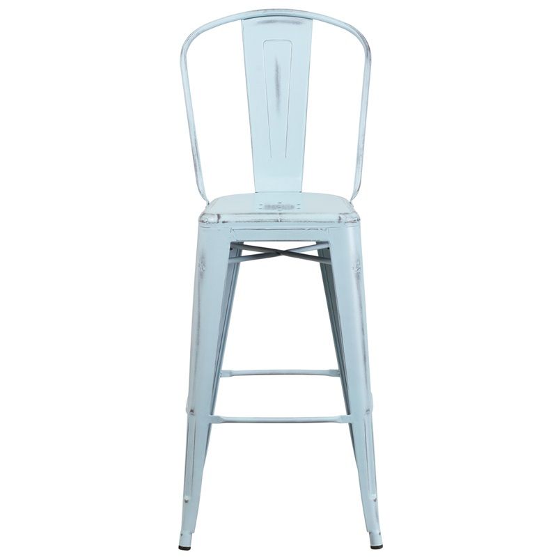 distressed blue metal barstool with back for sale