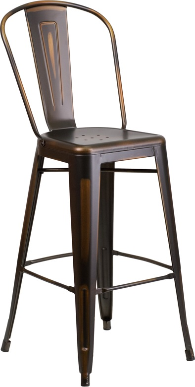 distressed copper metal barstool with back for sale
