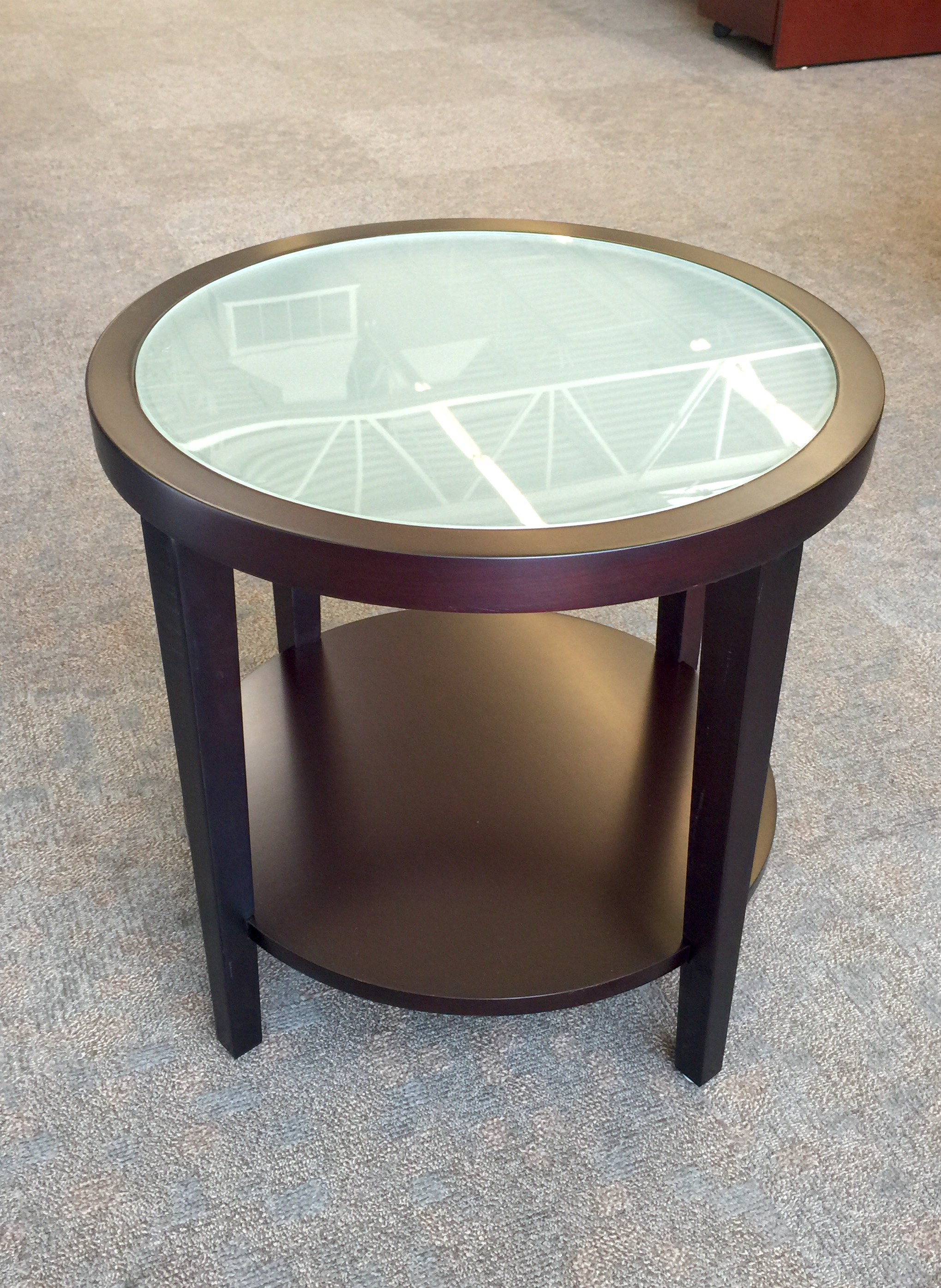 Round Side Table W Frosted Glass Ofw Office Furniture