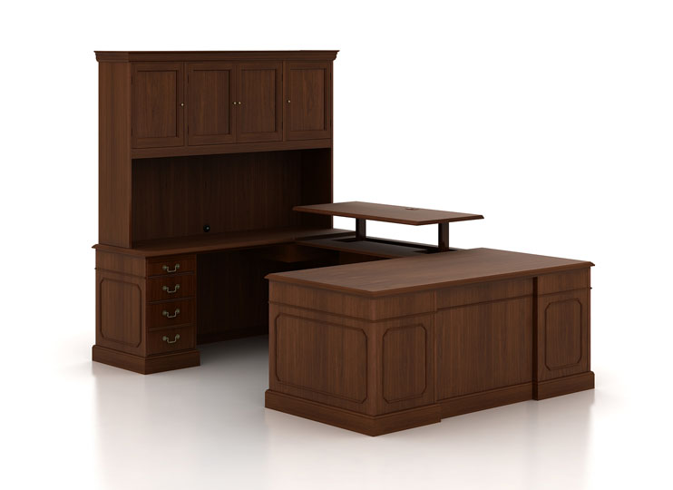U-shaped executive standing desk with hutch
