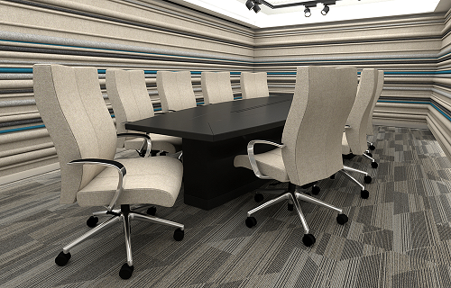 Fabric covered cushioned chairs around a modern conference table
